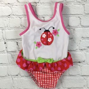 Infant One Piece Ladybug Swimsuit Sz 24M